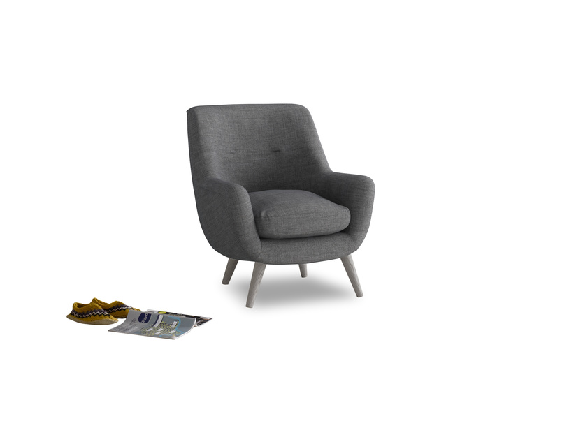 Berlin Armchair in Strong grey clever woolly fabric