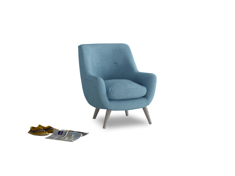 Berlin Armchair in Moroccan blue clever woolly fabric
