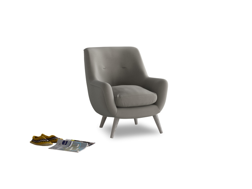 Berlin Armchair in Monsoon grey clever cotton