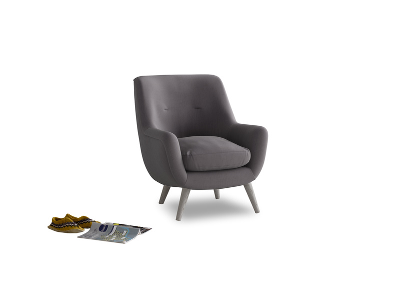 Berlin Armchair in Graphite grey clever cotton
