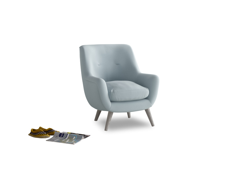 Berlin Armchair in Scandi blue clever cotton