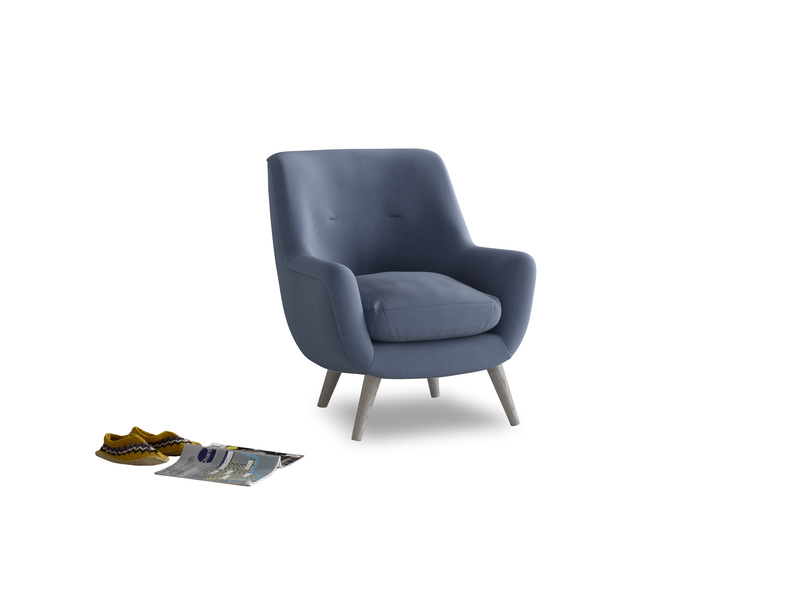 Berlin Armchair in Breton blue clever cotton