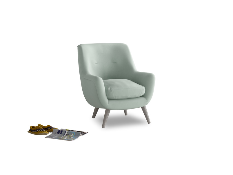 Berlin Armchair in Sea surf clever cotton