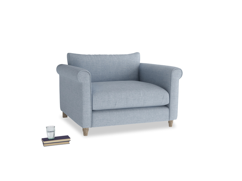 Weekender Love seat in Frost clever woolly fabric