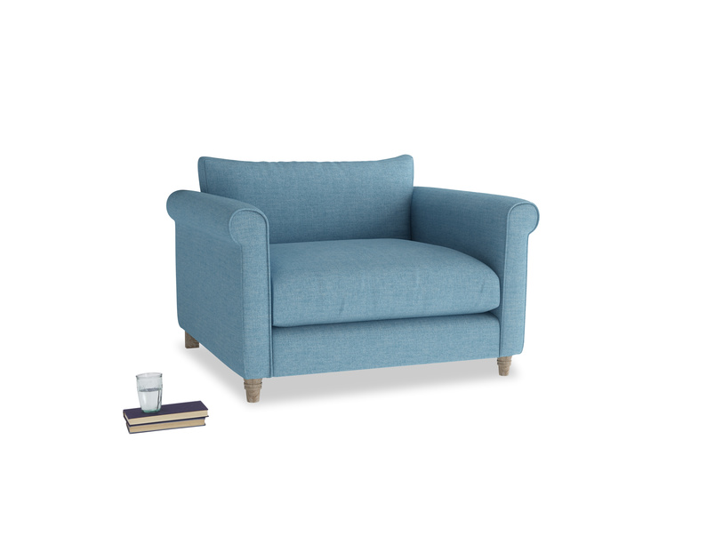 Weekender Love seat in Moroccan blue clever woolly fabric