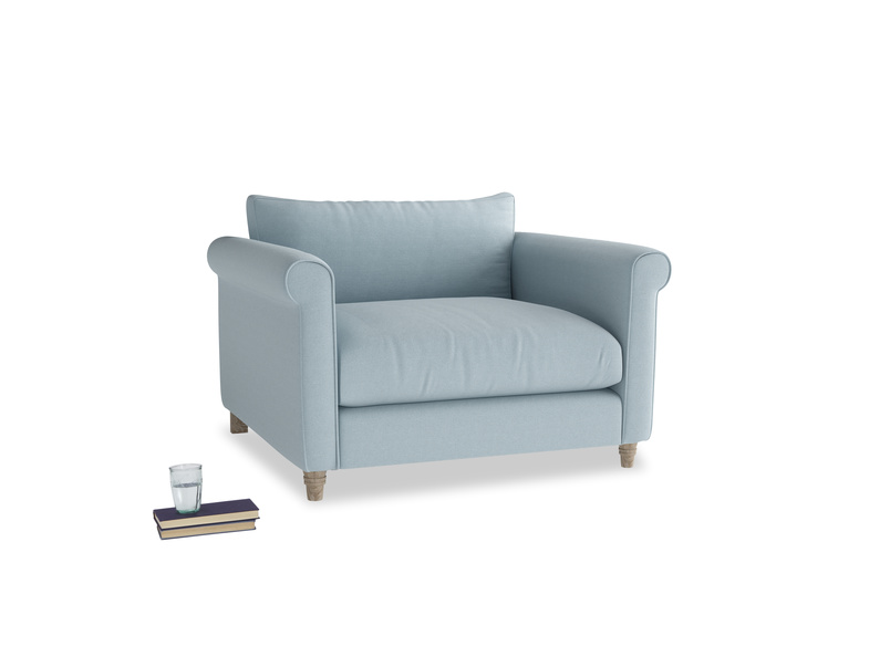 Weekender Love seat in Soothing blue washed cotton linen