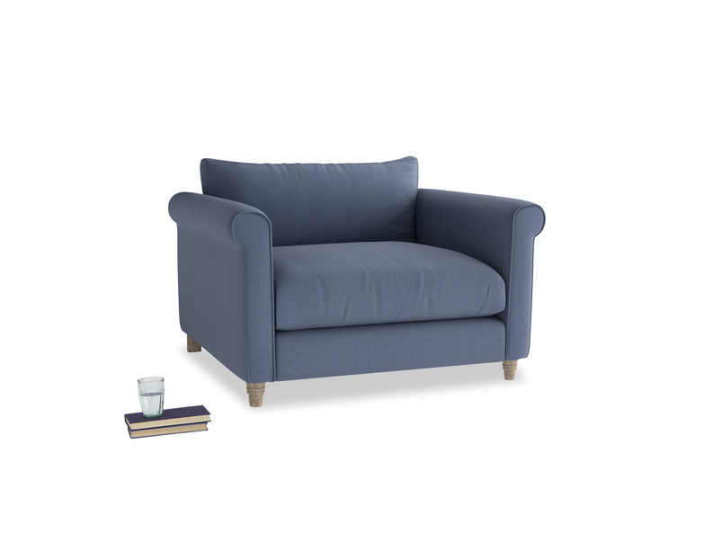 Weekender Love seat in Breton blue clever cotton