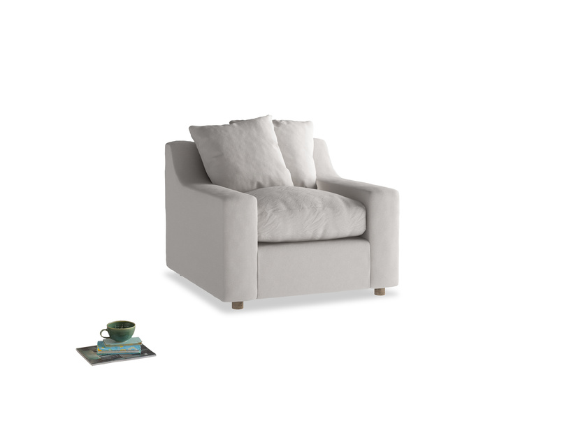 Cloud Armchair in Lunar Grey washed cotton linen