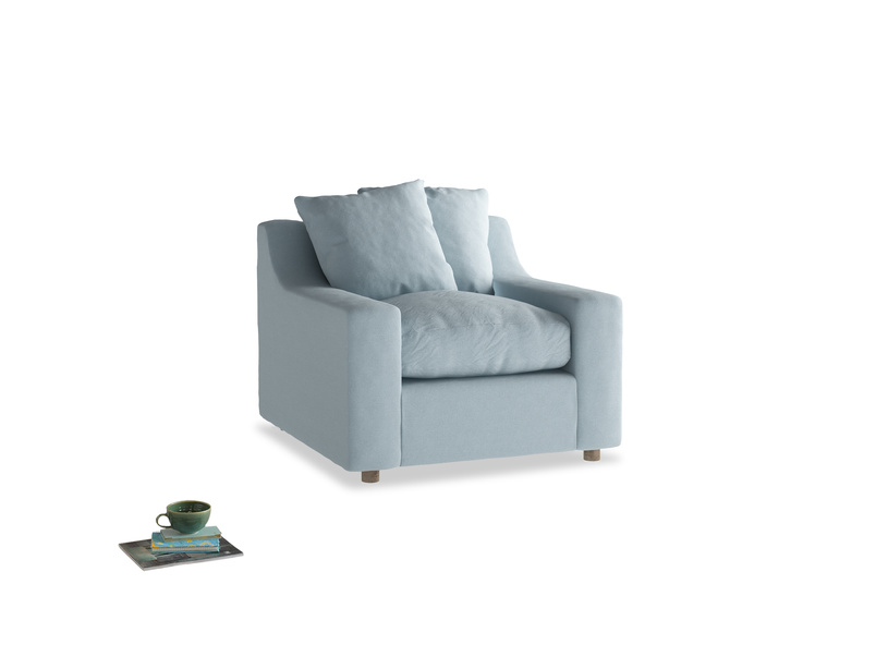 Cloud Armchair in Soothing blue washed cotton linen