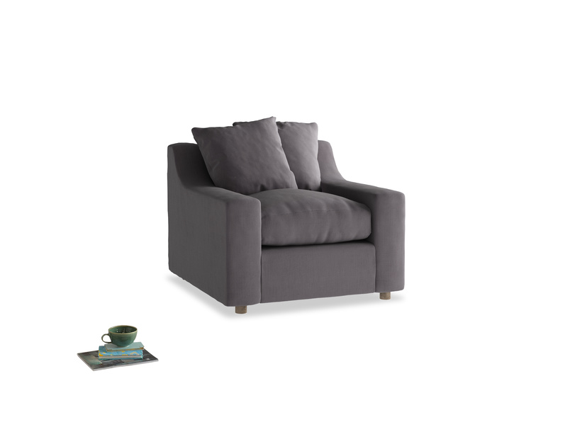 Cloud Armchair in Graphite grey clever cotton