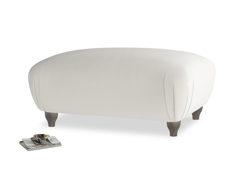 Rectangle Homebody Footstool in Moondust grey clever cotton