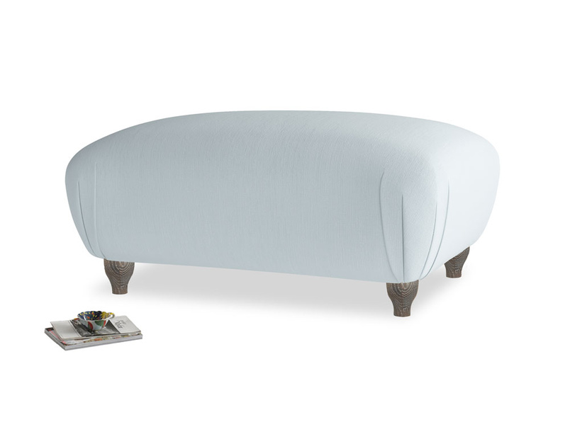 Rectangle Homebody Footstool in Scandi blue clever cotton