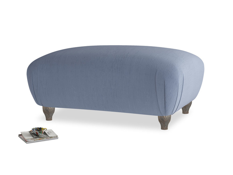 Rectangle Homebody Footstool in Breton blue clever cotton