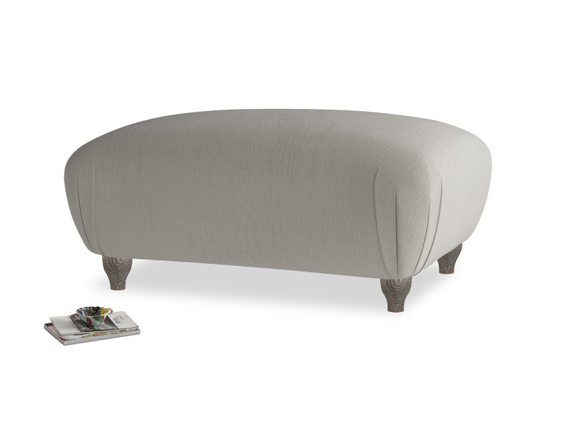 Rectangle Homebody Footstool in Monsoon grey clever cotton