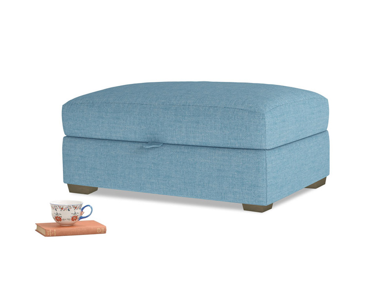 Bumper Storage Footstool in Moroccan blue clever woolly fabric