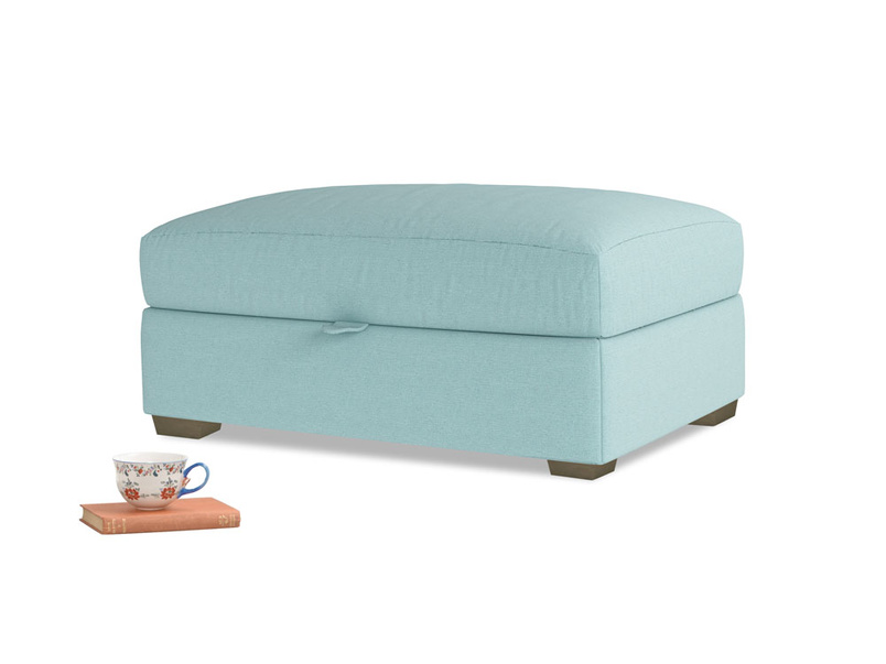 Bumper Storage Footstool in Adriatic washed cotton linen