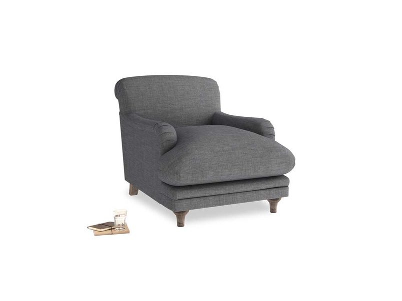 Pudding Armchair in Strong grey clever woolly fabric