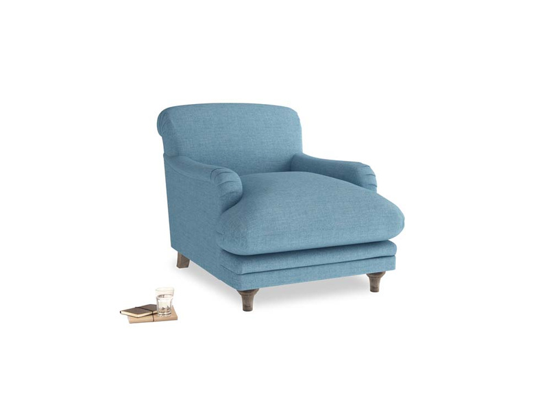 Pudding Armchair in Moroccan blue clever woolly fabric