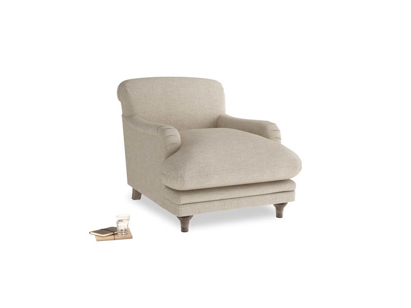 Pudding Armchair in Flagstone clever woolly fabric