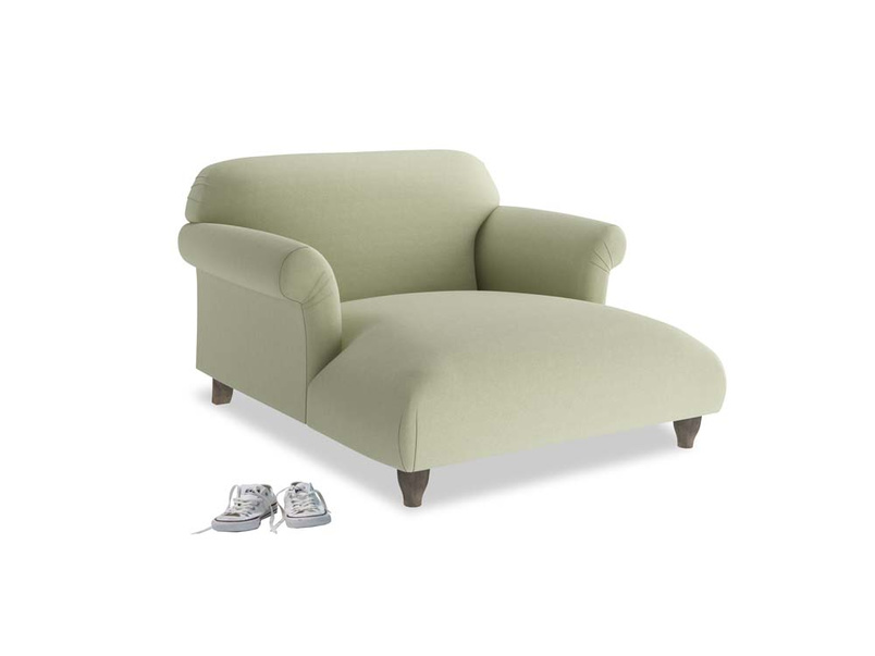 Soufflé Love Seat Chaise in Old sage washed cotton linen