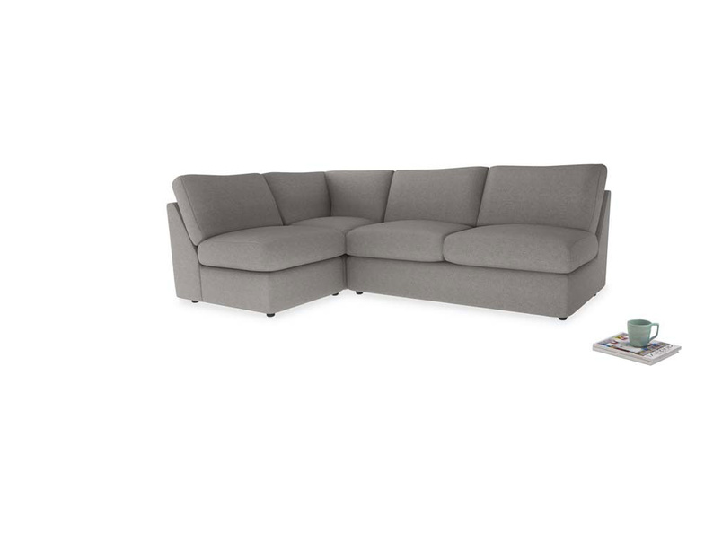 Large left hand Chatnap modular corner storage sofa in Marl grey clever woolly fabric
