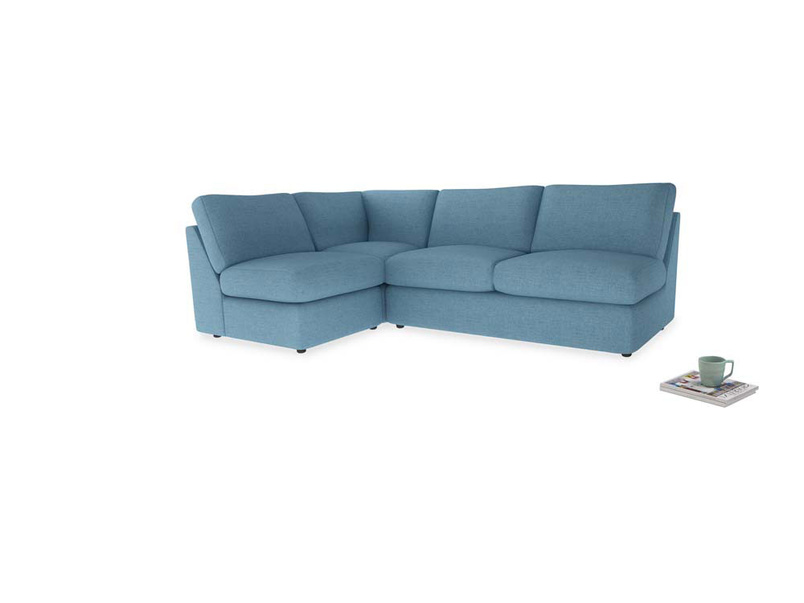 Large left hand Chatnap modular corner storage sofa in Moroccan blue clever woolly fabric