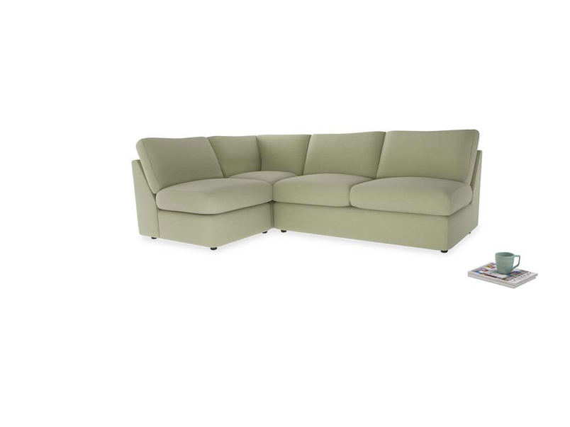 Large left hand Chatnap modular corner storage sofa in Old sage washed cotton linen