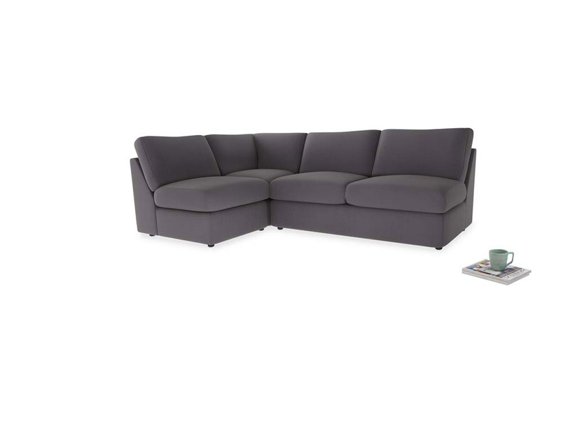 Large left hand Chatnap modular corner storage sofa in Graphite grey clever cotton