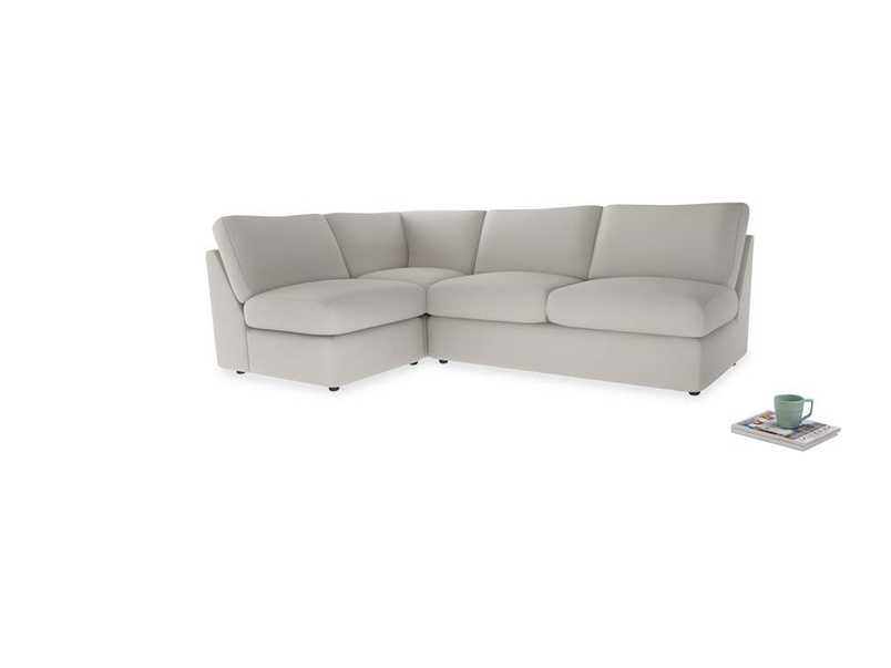 Large left hand Chatnap modular corner storage sofa in Moondust grey clever cotton