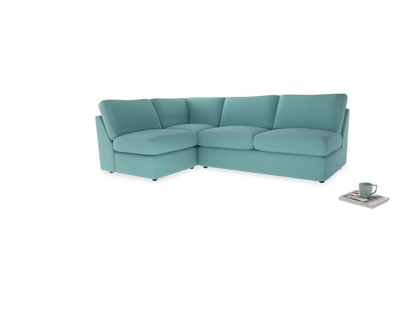 Large left hand Chatnap modular corner storage sofa in Kingfisher clever cotton