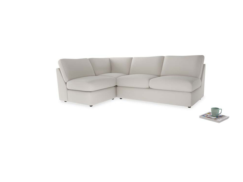 Large left hand Chatnap modular corner storage sofa in Chalk clever cotton
