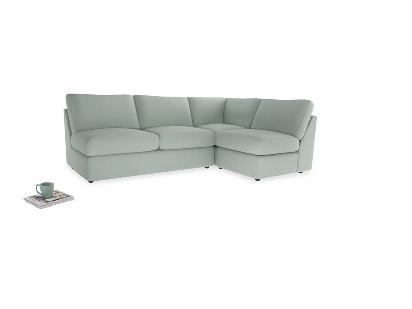 Large right hand Chatnap modular corner storage sofa in Sea surf clever cotton