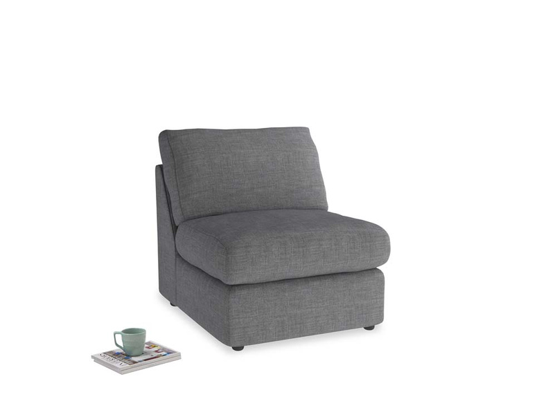 Chatnap Storage Single Seat in Strong grey clever woolly fabric