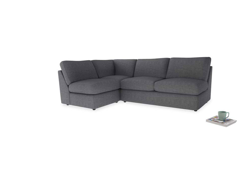 Large left hand Chatnap modular corner sofa bed in Strong grey clever woolly fabric