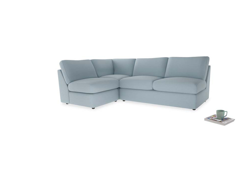 Large left hand Chatnap modular corner sofa bed in Soothing blue washed cotton linen
