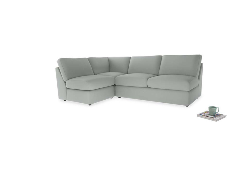 Large left hand Chatnap modular corner sofa bed in Eggshell grey clever cotton