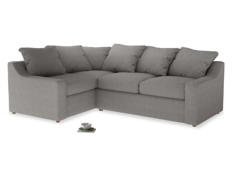 Large Left Hand Cloud Corner Sofa in Marl grey clever woolly fabric