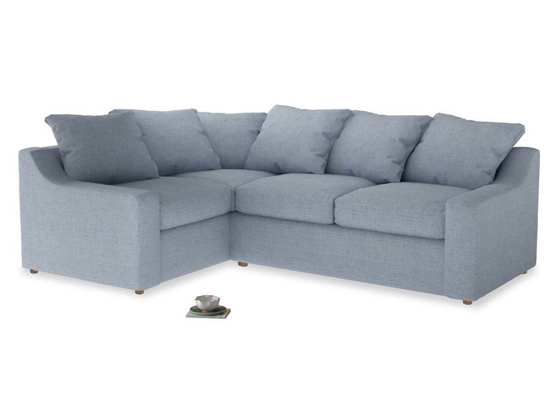 Large Left Hand Cloud Corner Sofa in Frost clever woolly fabric