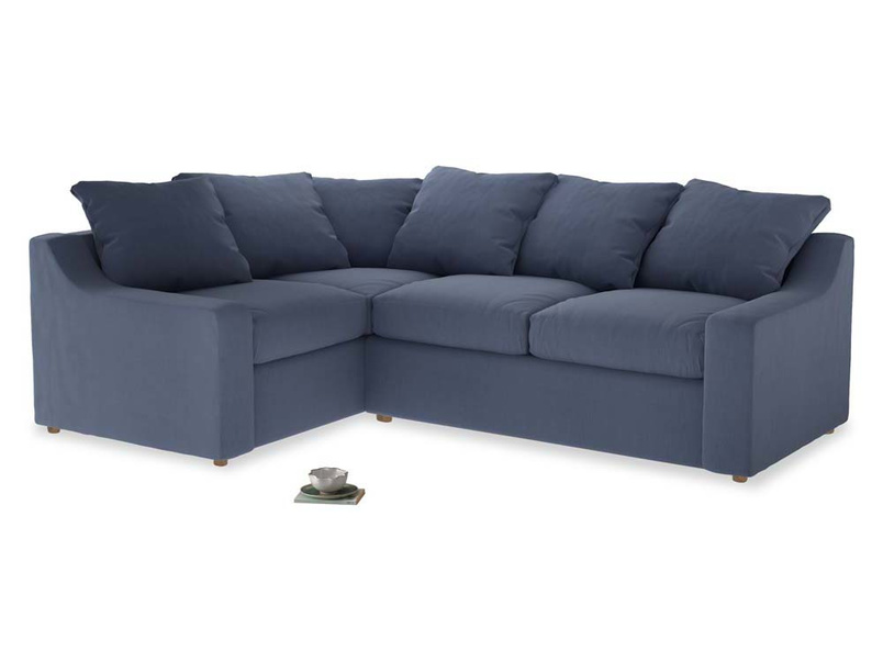 Large Left Hand Cloud Corner Sofa in Breton blue clever cotton