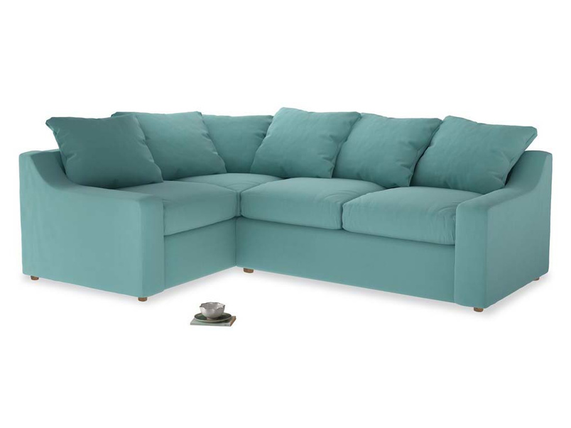 Large Left Hand Cloud Corner Sofa in Kingfisher clever cotton