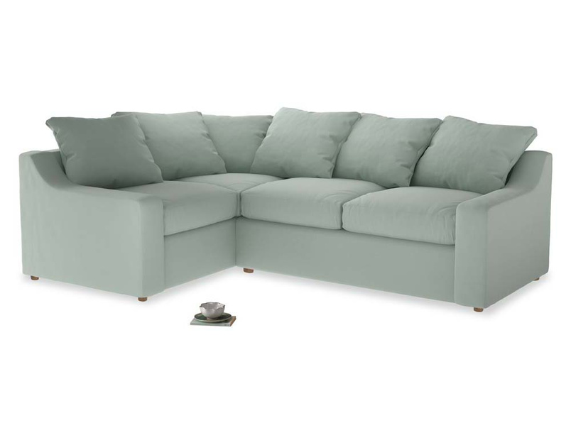 Large Left Hand Cloud Corner Sofa in Sea surf clever cotton
