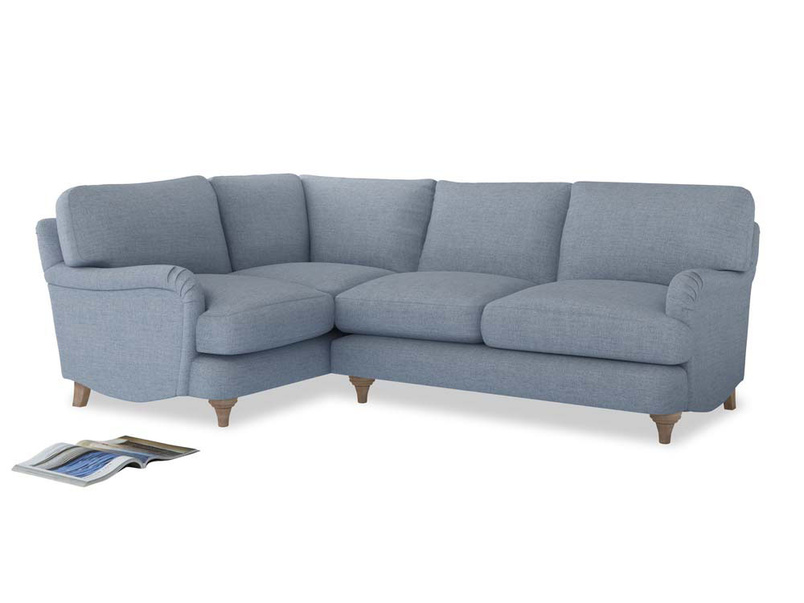 Large Left Hand Jonesy Corner Sofa in Frost clever woolly fabric
