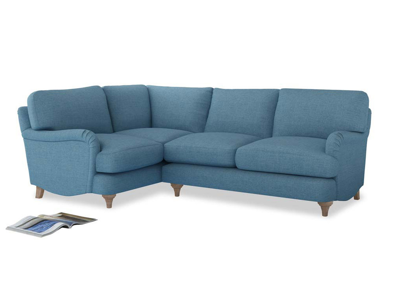 Large Left Hand Jonesy Corner Sofa in Moroccan blue clever woolly fabric