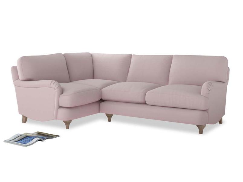 Large Left Hand Jonesy Corner Sofa in Dusky blossom washed cotton linen