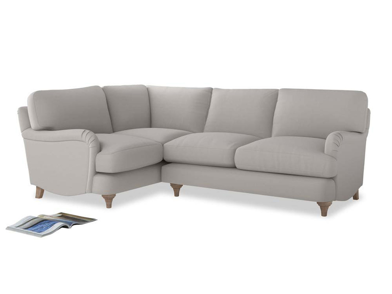 Large Left Hand Jonesy Corner Sofa in Lunar Grey washed cotton linen
