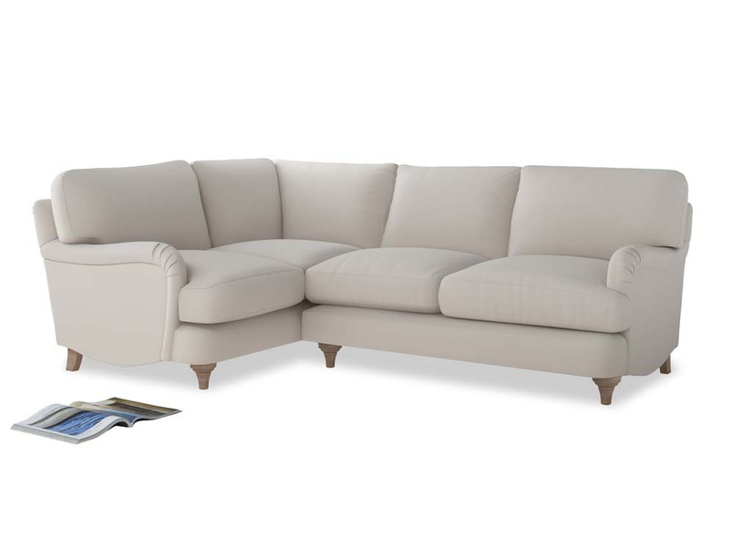 Large Left Hand Jonesy Corner Sofa in Chalk clever cotton