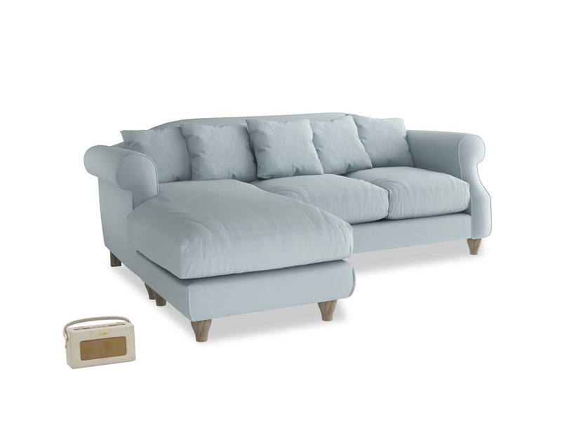 Large left hand Sloucher Chaise Sofa in Scandi blue clever cotton