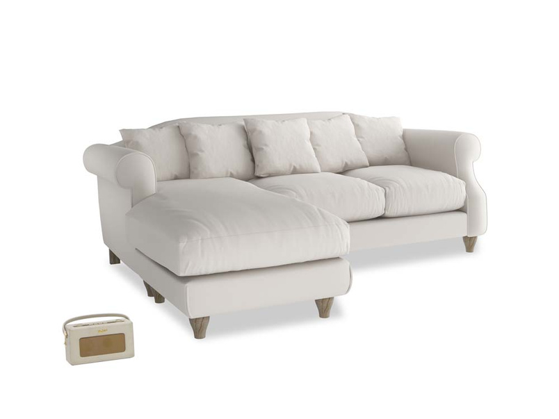 Large left hand Sloucher Chaise Sofa in Chalk clever cotton