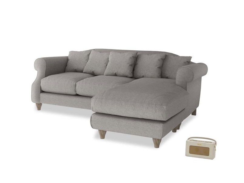 Large right hand Sloucher Chaise Sofa in Marl grey clever woolly fabric