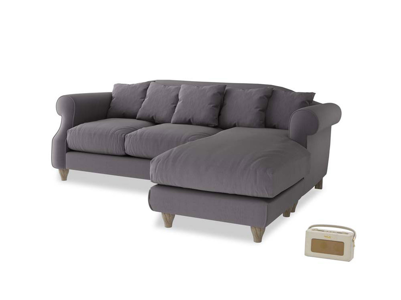 Large right hand Sloucher Chaise Sofa in Graphite grey clever cotton
